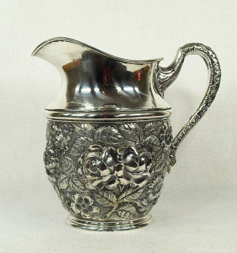 American Stieff Baltimore Sterling Silver Floral-Repousse-Decorated Pitcher