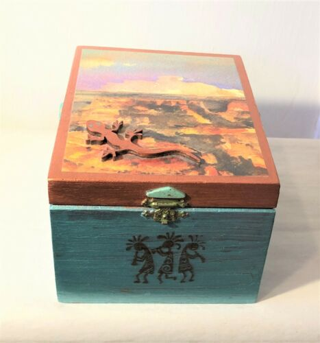 Southwestern Wood Wooden Cigar Box Hand Decorated OOAK 7 x 5