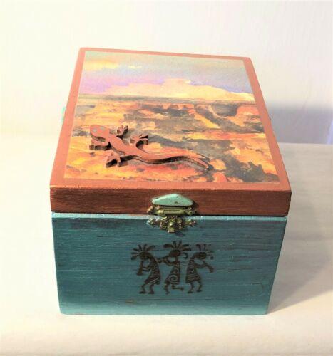 Southwestern Wood Wooden Cigar Box Hand Decorated OOAK 7 x 5