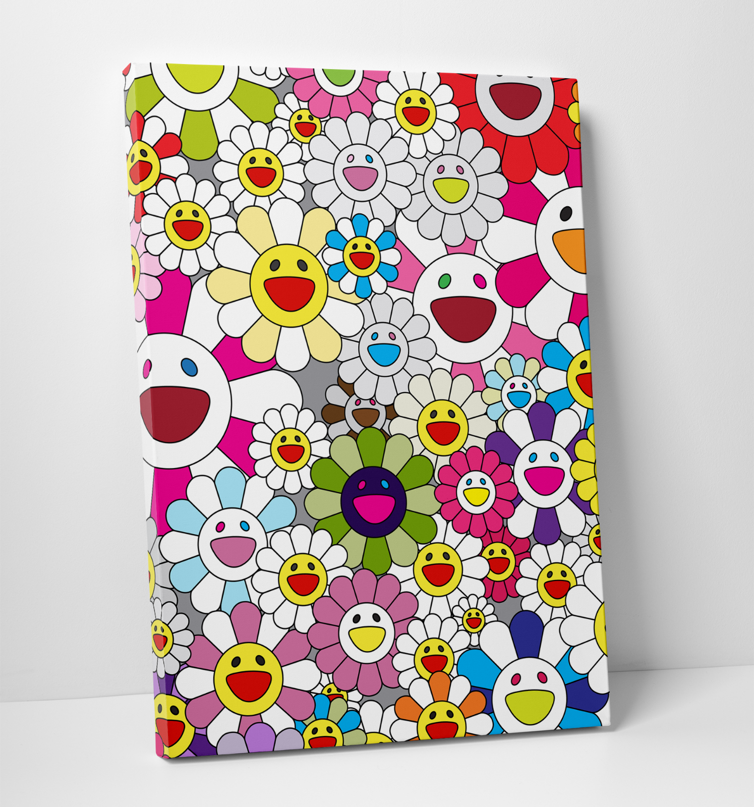 "Takashi Murakami Flowers with Smiley Faces Gallery Art Canvas 11x14"" Complexcon"