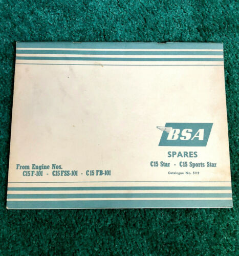 ORIGINAL 1965 BSA MOTORCYCLE PARTS MANUAL CATALOG C15 STAR SPORTS 250