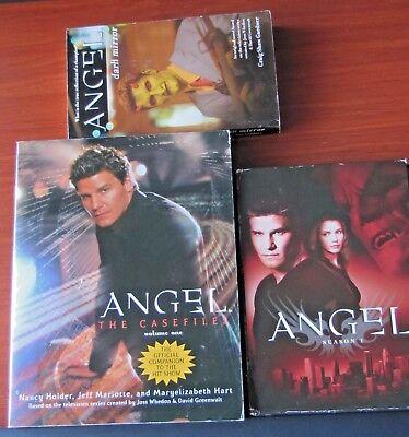 Lot of 3 - Angel   Season 1 on DVD, The Casefiles Vol 1 book PB, Dark Mirror PB Dark Angel-season 3