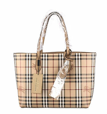 BURBERRY Multicolor Coated Canvas Haymarket Reversible Tote
