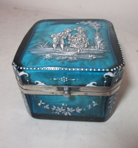 antique handmade French enameled blue glass silver casket jewelry dresser box