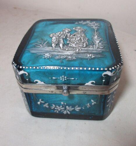 antique handmade French enameled blue glass silver casket jewelry dresser box