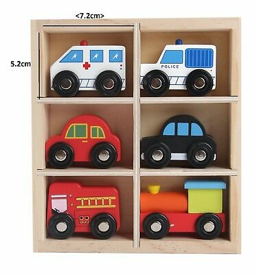 Wooden Vehicle Kids Toy Cars Toys Play 6 Wooden Toy Vehicles 5 Cars And A Train