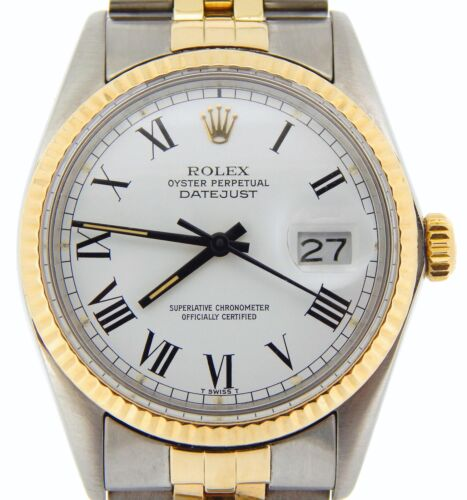 $4199.98 - Rolex Datejust Mens Two-Tone 14K Gold Stainless Steel White & Black Roman 16013