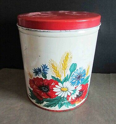 Vintage 1940s Metal Country Kitchen Canister Flower & Wheat Design 6.75 FREE SH