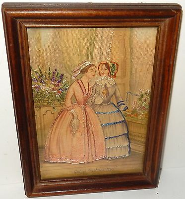 GODEY'S FASHIONS 19TH CENTURY SILK EMBOSSED HIGH SOCIETY WOMAN TAPESTRY 1845