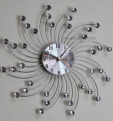 33cm Handcrafted Diamante Beaded Jeweled Sunburst Silver Wall Clock 114