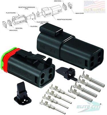 Molex Waterproof - 4 Pin Black Connector Set w/14-16 AWG Lock B Key - ML-XT™ 16 Pin Molex Connector