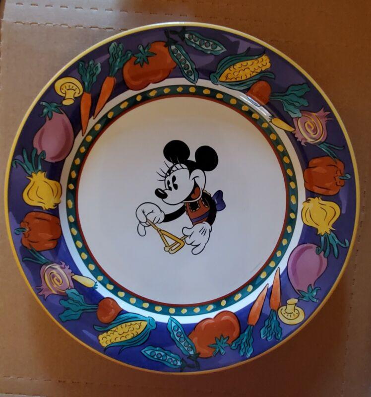 Disney Stoneware Minnie Mouse Dinner Plate With Vegetable Rim Design - Vintage