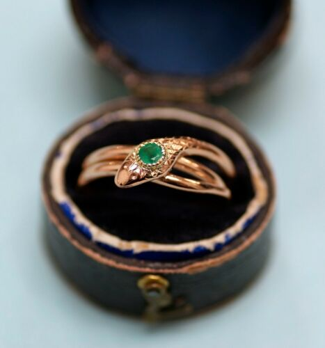 Vintage 14K rose gold snake ring with emerald, signed, size 7