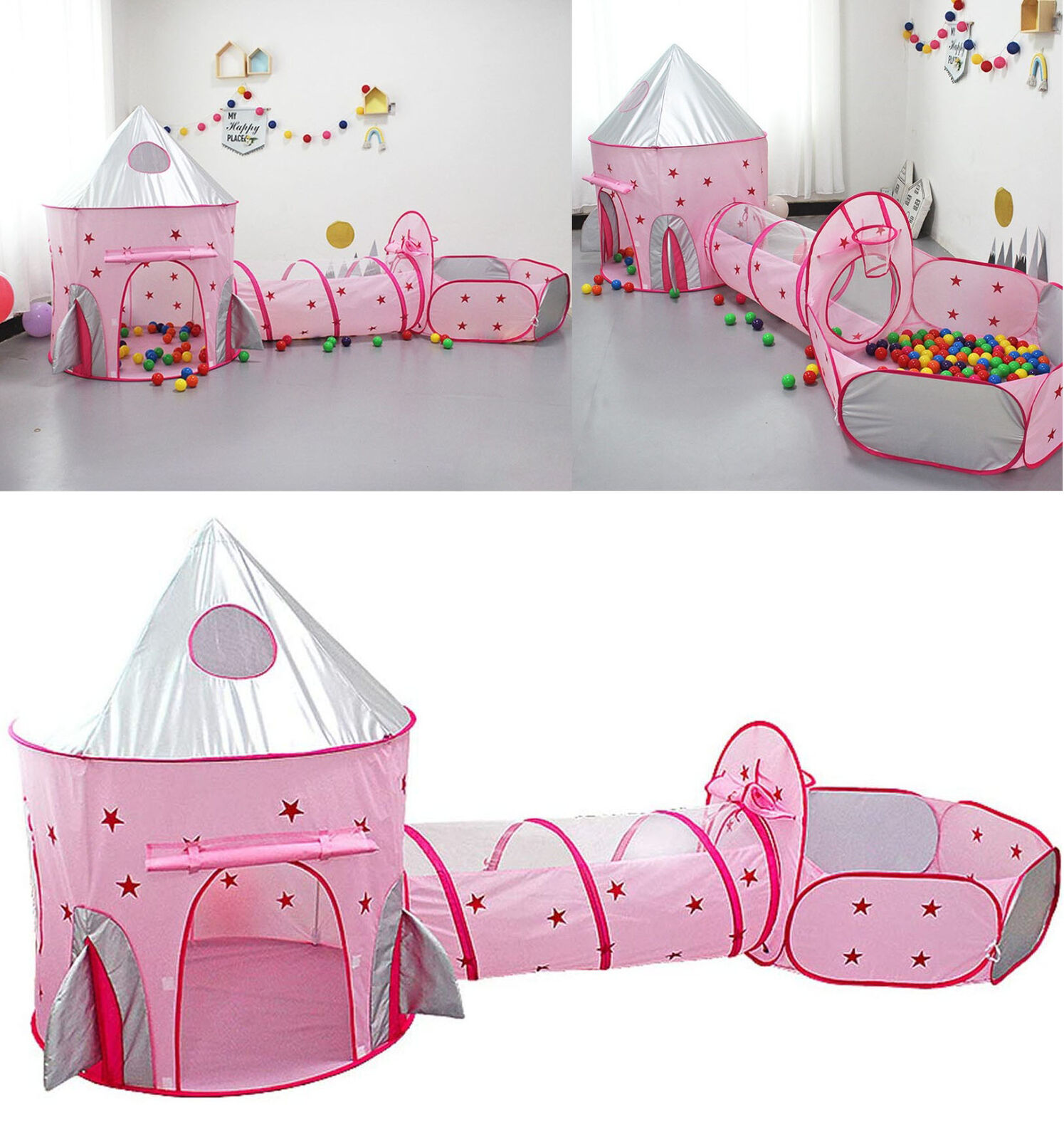 3 In 1 Kids Play Tent Crawl Tunnel Pop Up Playhouse Ball Pit