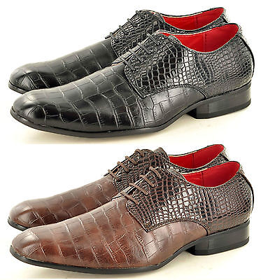 Mens Snake Skin Pattern Round Toe Lace Up Winkle Pickers Spats Shoes UK 7-11