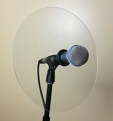 Trumpet microphone reflector shield for live sound monitoring, fits Shure 57, 58