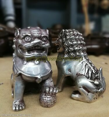 Antique Tibet Silver Guardian Lion Foo Fu Dog Door guard carved Statue A Pair