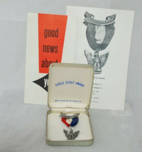 Vintage Eagle Scout Boy Scouts Medal Award Sterling Silver with Case