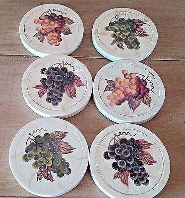 Vintage Set 6 Round Wood Drink Coaster Pomorant Grapes Metal Holder Purple Red