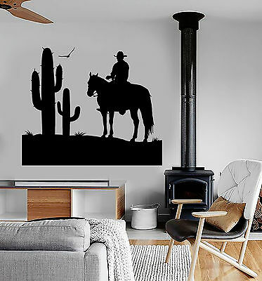 Vinyl Wall Decal Cowboy Wild West Cactus Boy Room Stickers Decor (ig4766) - Cowboy Room Decor