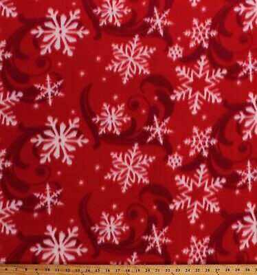 Fleece Snowflakes Swirls Red Winter Christmas Holiday Fabric Print BTY A340.12 ()