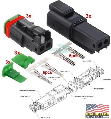 Molex Waterproof - 2 Pin Black Connector W14-18 Awg - Ml-xt 3 Set