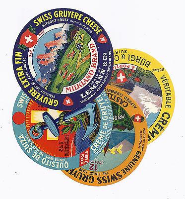 Switzerland Gruyere Cheese Label Lot of 4 Different, Round - Vintage Litho Art