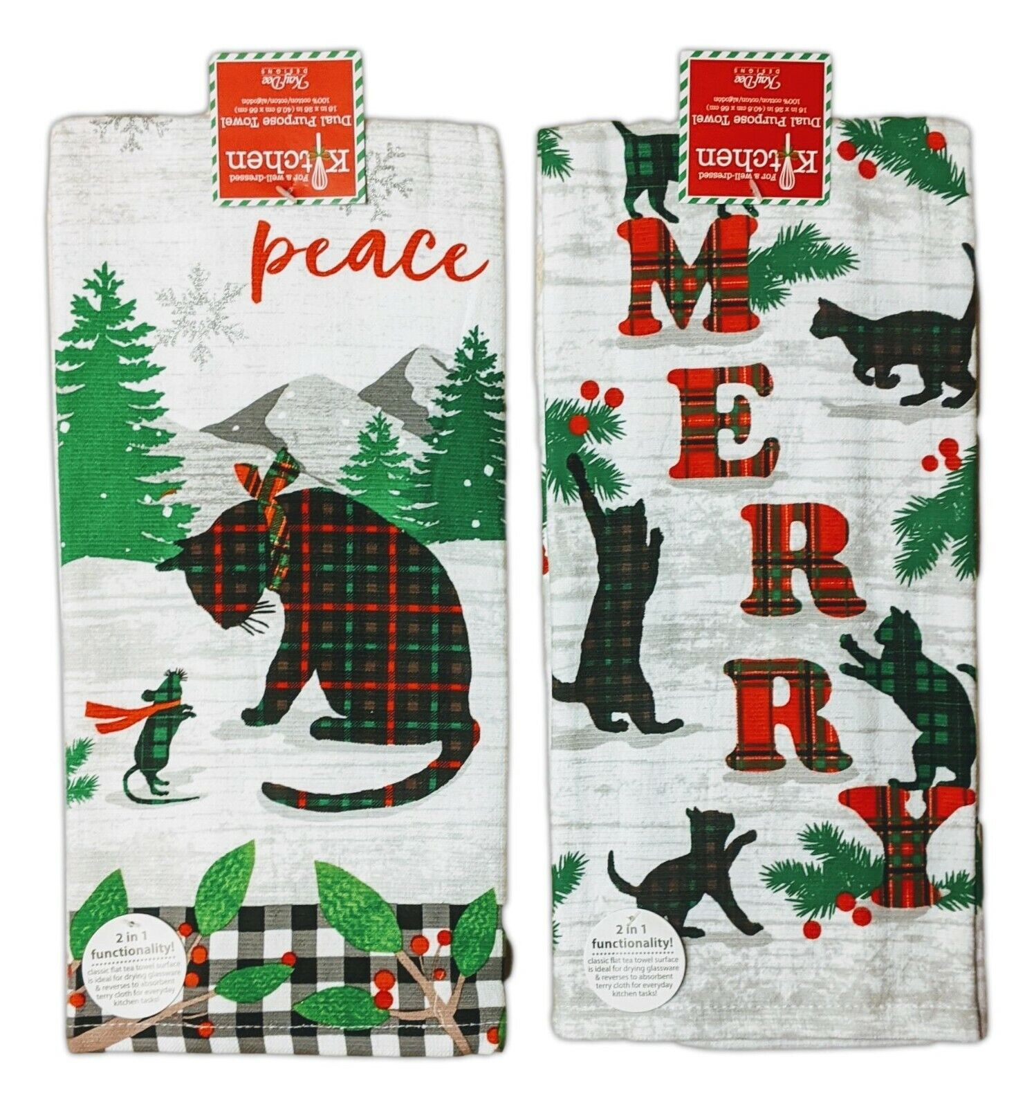 Set of 2 HOLIDAY KITTIES Christmas Cat Terry Kitchen Towels
