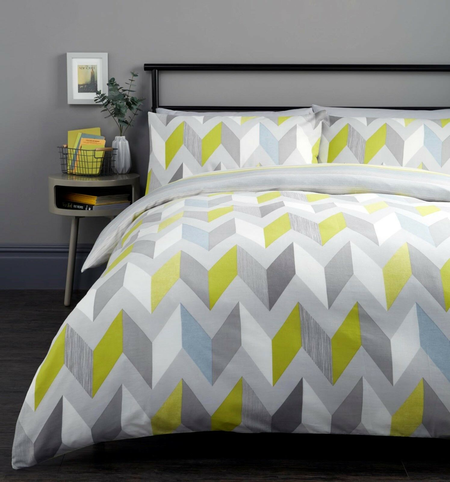 Grey /& More Fusion BETLEY Striped Duvet Cover with Pillowcase Bedding Set Blue