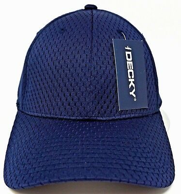 DECKY Mesh Jersey Flex Fit Cap Perforated Dad Hat Curved Visor OSFM Navy NWT Osfm Flex Cap