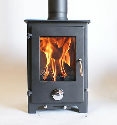 Woodburner Multi Fuel Stove 5kw Log Burning Fire Contemporary RRP £399