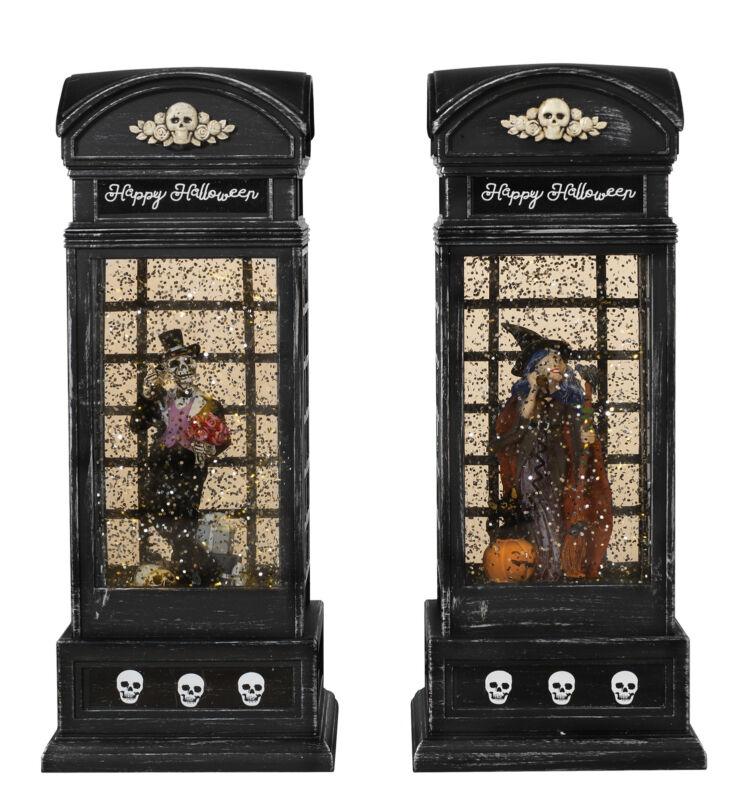 "9.8"" Lighted Vintage Phone Booth Spinning Water Globe Lanterns Halloween Set"