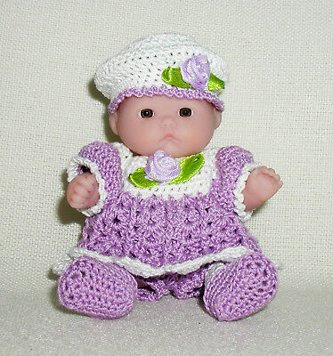 "Purple/White Sunday Dress OUTFIT ONLY for the 5"" Lots to Love Babies"