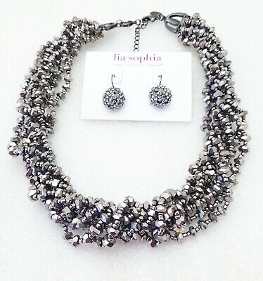 Lia Sophia $232 Kiam Hematite Necklace & Hematite Black Diamond Crystal Earring Hematite Necklace Earring