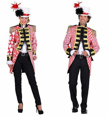 edler Frack rot/weiß Damen Herren Offizier Uniform Kölnjacke Patchworkoptik