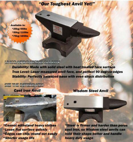 ANVIL SOLID STEEL 110 LB BLACKSMITH, Long Horn, Hardy & Pritchel hole