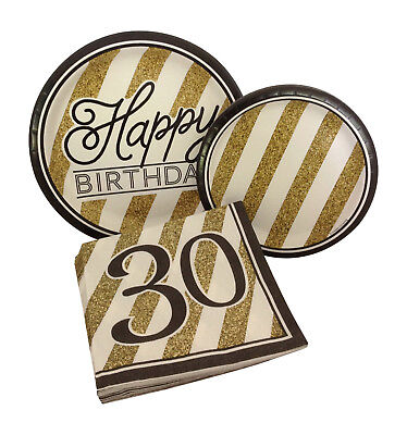 30th Birthday Plates And Napkins (Black Gold Happy 30th Thirty Birthday Party Bundle Paper Plates and Napkins )