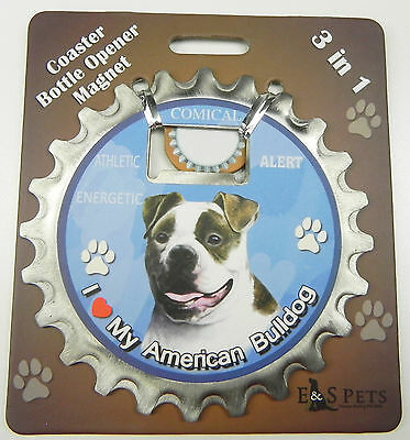 American Bulldog dog coaster magnet bottle opener Bottle Ninjas magnetic