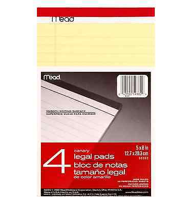 Mead Canary Legal Pads Wide Ruled 5 In X 8 In 50 Perforated Sheets 4 Ea