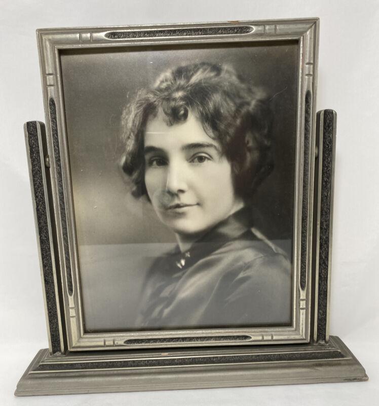 "Vintage Art Deco Wooden Swing Photo Frame Silver Black 11.5""H x 11.75""L Tabletop"
