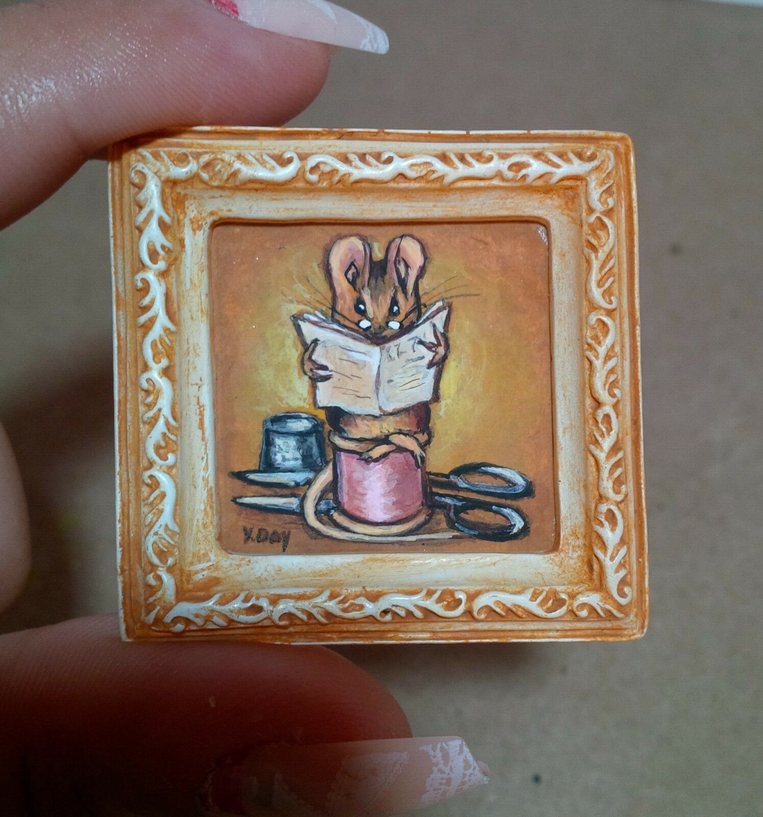 Dollhouse Miniature Mouse Painting Beatrix Potter Tailor OOAK Original In Frame  - $45.00