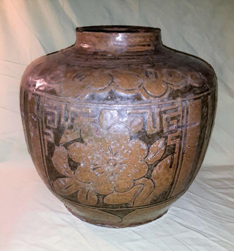 Antique Chinese Brownware Storage Jar 19th Century
