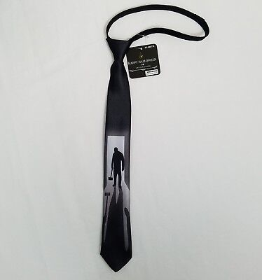 Halloween Zipper Neck Tie Costume Scary Shadow Man Thin Black White Party - Shadow Man Costume