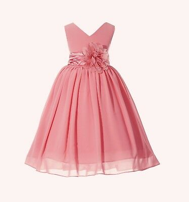 Elegant Yoryu Chiffon V-neck Bodice Flower Girl Dresses Pageants Birthday - Elegant Flower Girl Dresses
