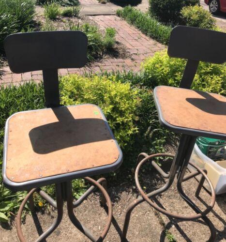 Vintage Pair Industrial Metal Adjustable Shop Stools Machine Age Drafting Chairs