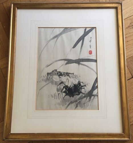ANTIQUE JAPANESE ORIGINAL INK SUMI-E PAINTING ON SILK, SIGNED & SEALED. 19TH C.