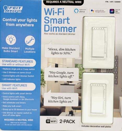 Feit Electric Wi-Fi Smart Dimmer 2PK Works with Siri & Alexa & Google Assistant