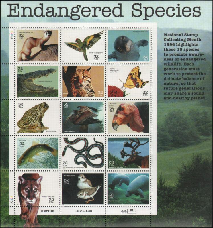 US #3105 MNH pane of 15, 32c Endangered Species