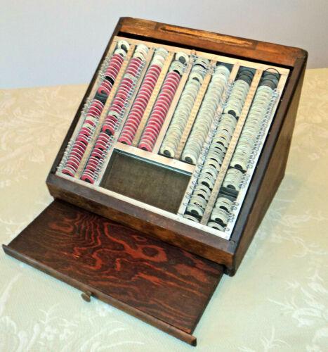 Antique Optometrist Trial Lens Oak Display Case w/Slide-Out Shelf