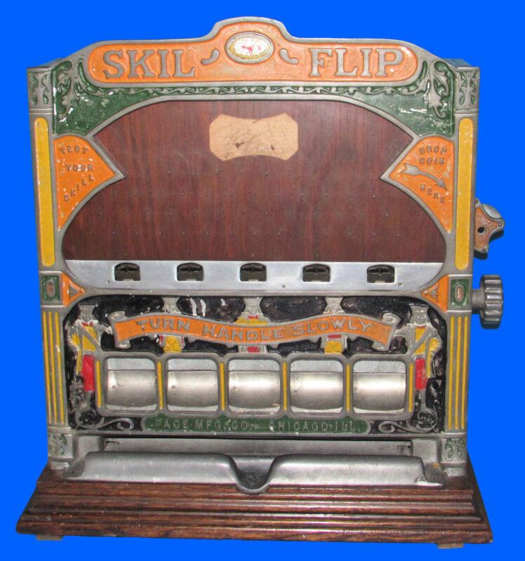 Nice Original Pace Mfg Skil-Flip Trade Stimulator Penny Coin Op Game Five Jacks